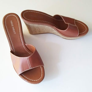 NINE WEST Brown Wedge Shoe Size 8.5M